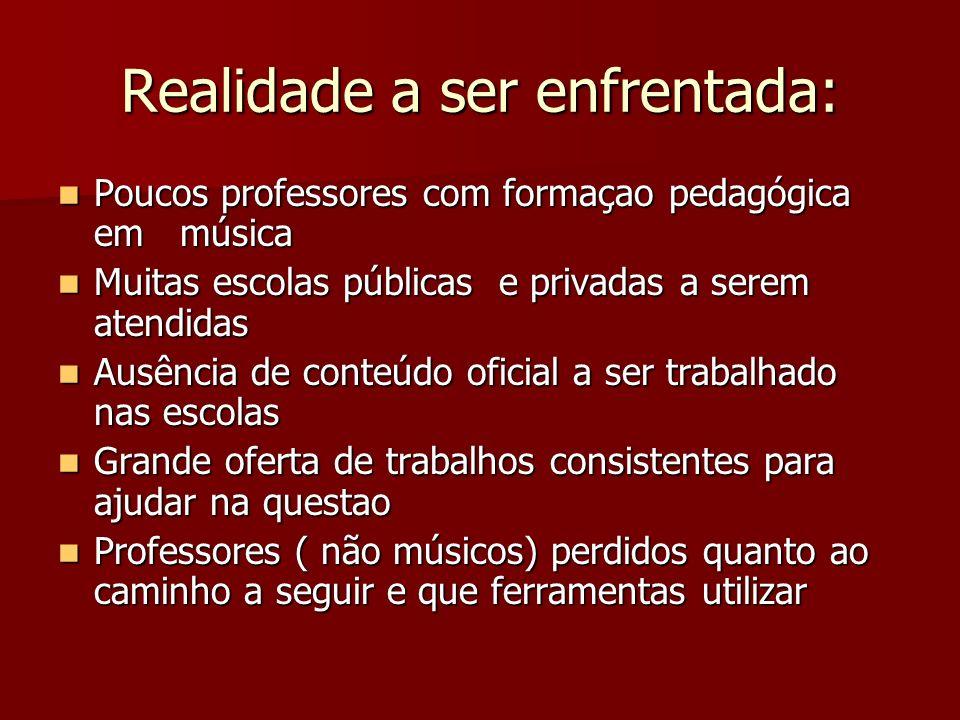 Realidade a ser enfrentada: Poucos professores com formaçao pedagógica em música Poucos professores com formaçao pedagógica em música Muitas escolas p