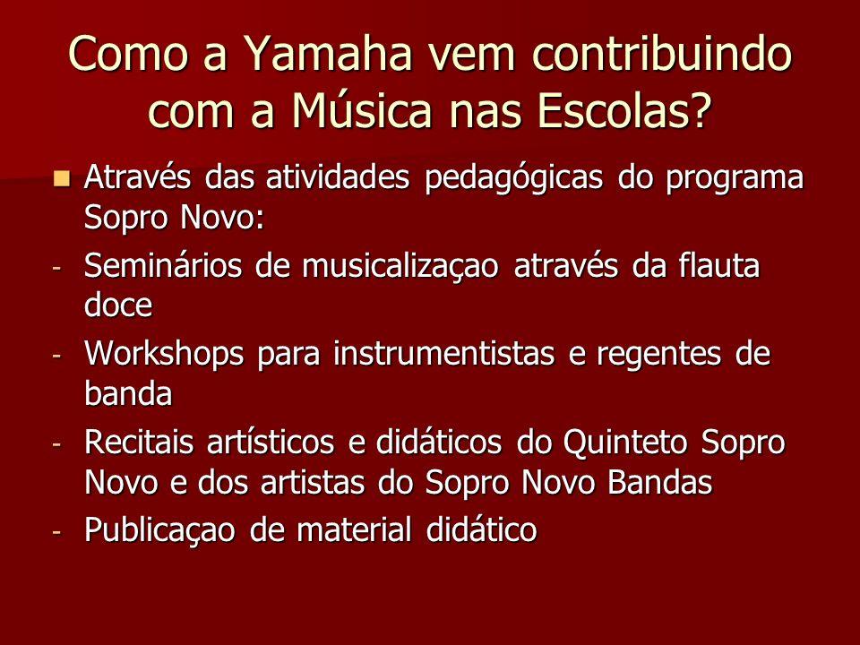 Como a Yamaha vem contribuindo com a Música nas Escolas? Através das atividades pedagógicas do programa Sopro Novo: Através das atividades pedagógicas