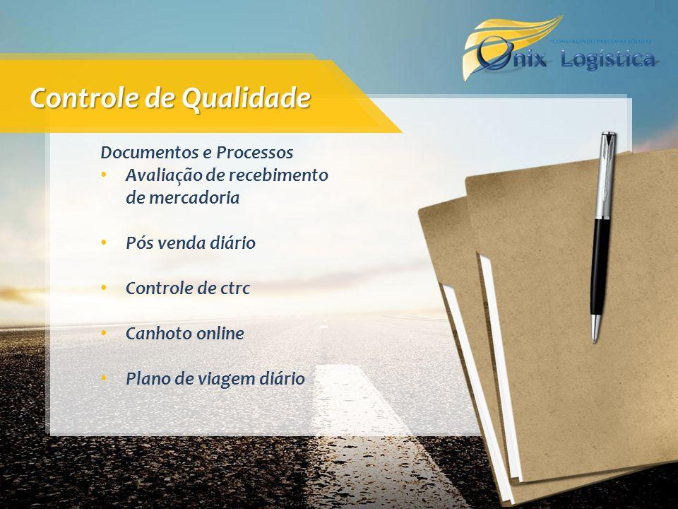 Documentos e Processos Avaliação de recebimento de mercadoria Pós venda diário Controle de ctrc Canhoto online Plano de viagem diário Controle de Qual