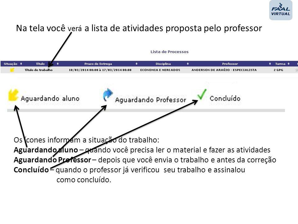Na tela você verá a lista de atividades proposta pelo professor Os ícones informam a situação do trabalho: Aguardando aluno – quando você precisa ler