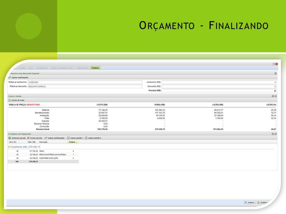 O RÇAMENTO – PDF/E XCEL /HTML