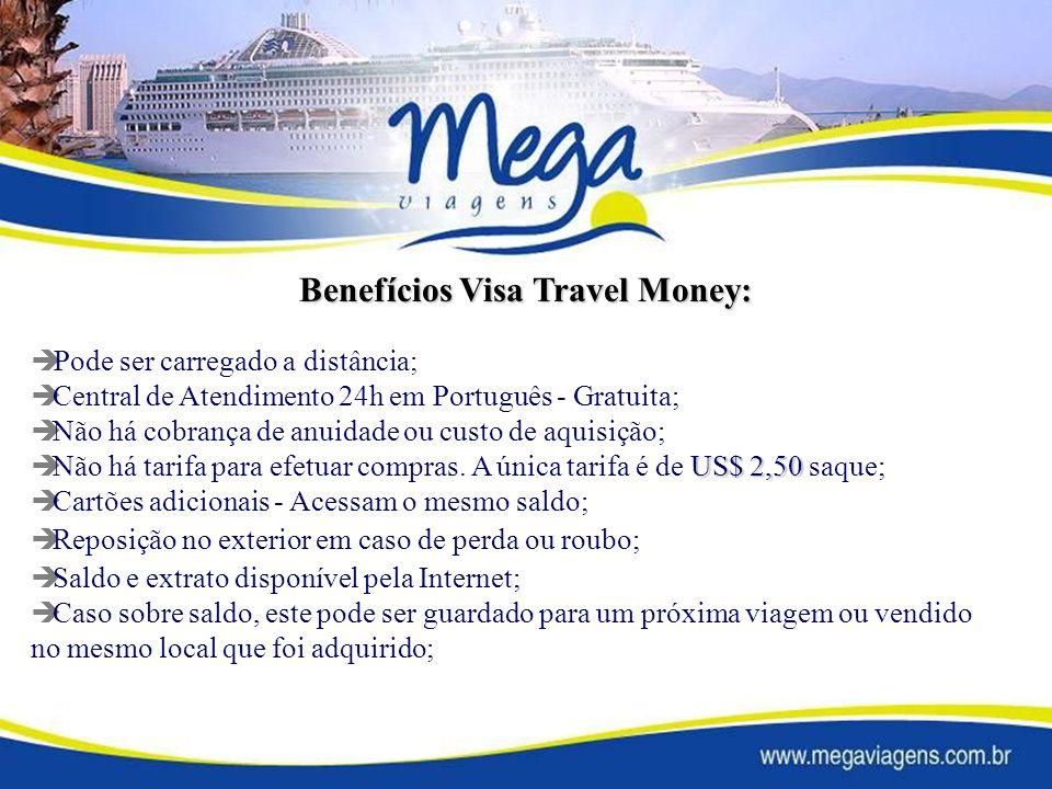 Pode ser carregado a distância; Central de Atendimento 24h em Português - Gratuita; Não há cobrança de anuidade ou custo de aquisição; US$ 2,50 Não há tarifa para efetuar compras.