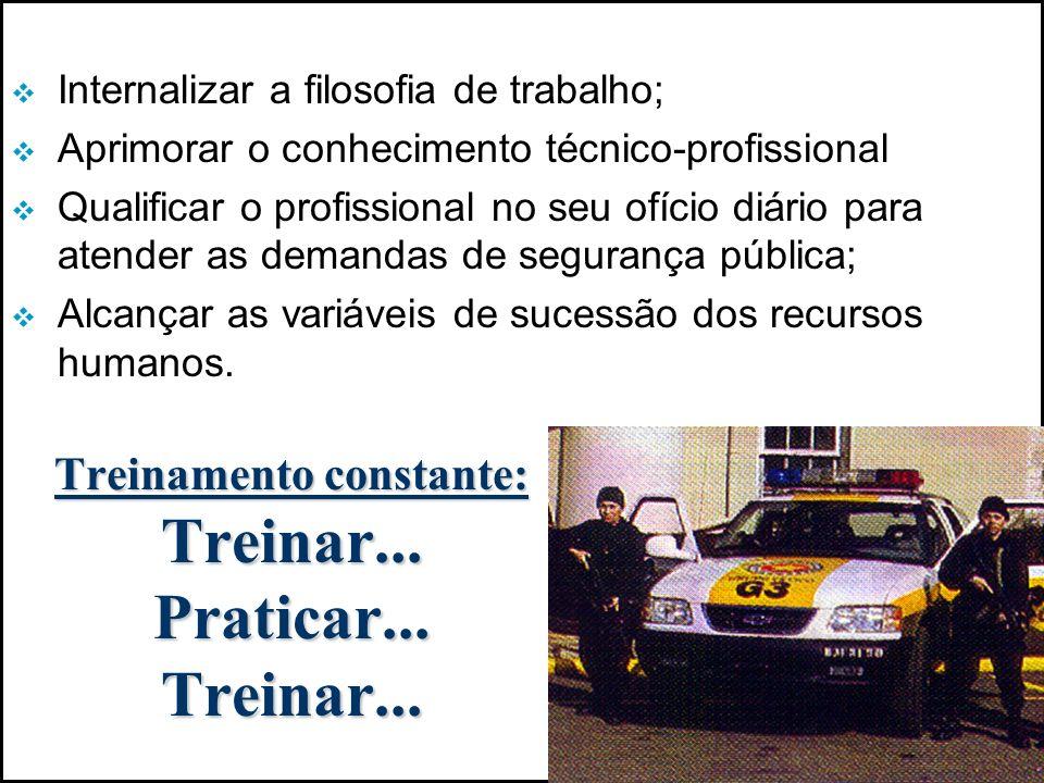 COMPROMETIMENTO DO POLICIAL Respeito aos direitos humanos; Com o seu local de trabalho; Envolver a comunidade; Resolver os problemas; Sensível às questões sociais; Aprimoramento técnico policial; Responsabilidade profissional; Ação pró-ativa e qualitativa; Resultados das ações realizadas.