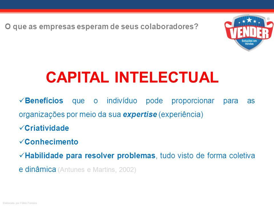 O que as empresas esperam de seus colaboradores? O CAPITAL INTELECTUAL está nos ATIVOS HUMANOS Benefícios que o indivíduo pode proporcionar para as or