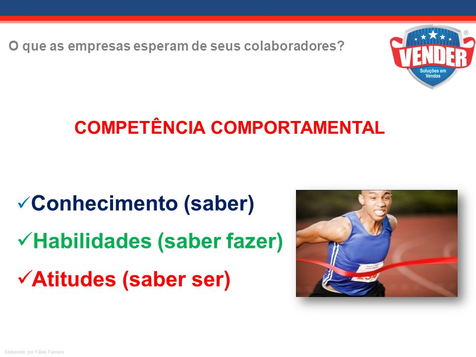 O que as empresas esperam de seus colaboradores? Elaborado por Fábio Ferreira A COMPETÊNCIA COMPORTAMENTAL é gerada pelo os seguintes fatores: Conheci