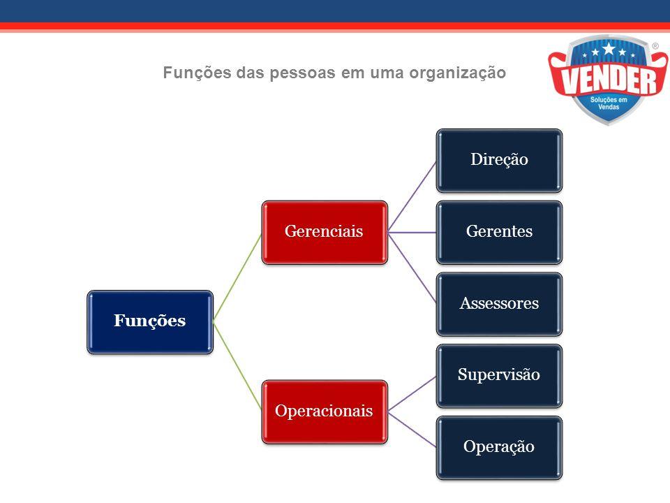 Funções das pessoas em uma organização FunçõesGerenciaisDireçãoGerentesAssessores Operacionais SupervisãoOperação