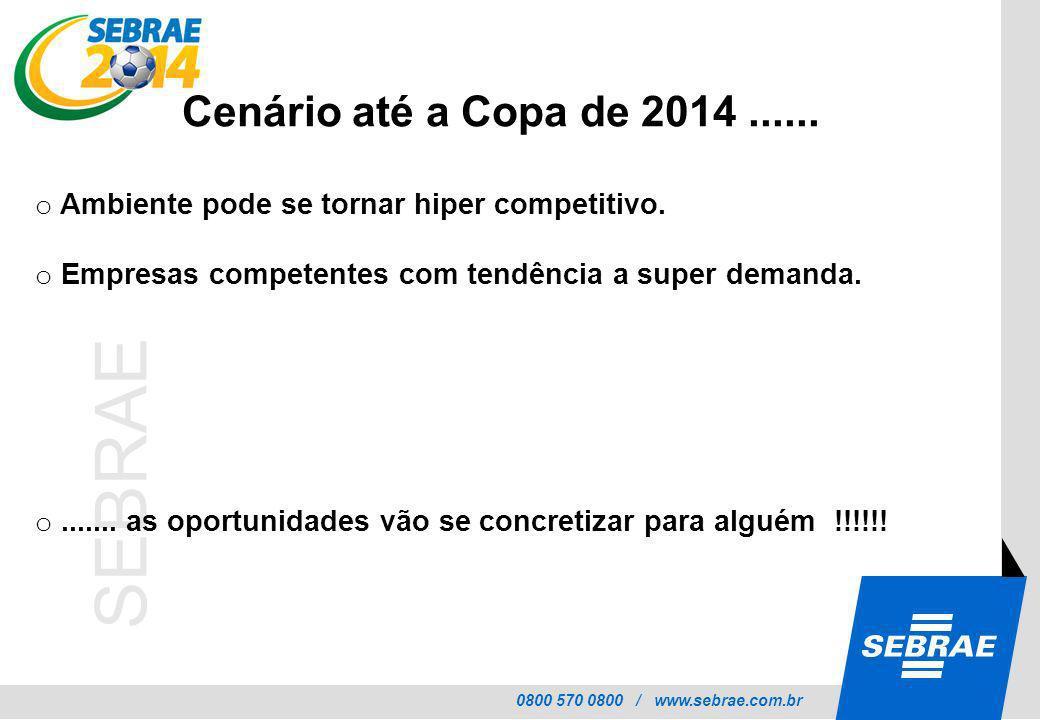 0800 570 0800 / www.sebrae.com.br SEBRAE o Ambiente pode se tornar hiper competitivo. o Empresas competentes com tendência a super demanda. o....... a