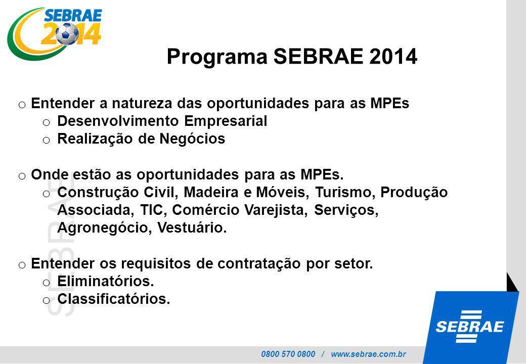 0800 570 0800 / www.sebrae.com.br SEBRAE o Entender as principais dificuldades das MPEs nos setores priorizados.