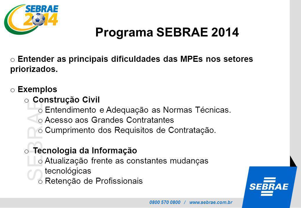 0800 570 0800 / www.sebrae.com.br SEBRAE o Entender as principais dificuldades das MPEs nos setores priorizados. o Exemplos o Construção Civil o Enten