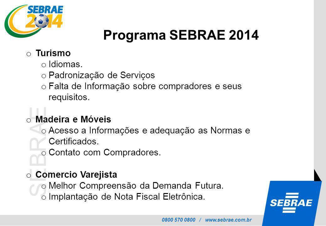0800 570 0800 / www.sebrae.com.br SEBRAE o Turismo o Idiomas. o Padronização de Serviços o Falta de Informação sobre compradores e seus requisitos. o