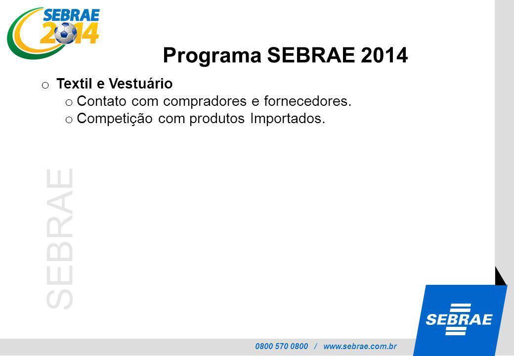 0800 570 0800 / www.sebrae.com.br SEBRAE o Textil e Vestuário o Contato com compradores e fornecedores. o Competição com produtos Importados. Programa
