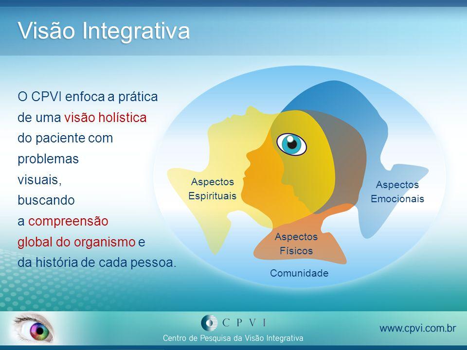 Visão Integrativa Aspectos Físicos Aspectos Emocionais Aspectos Espirituais Comunidade O CPVI enfoca a prática de uma visão holística do paciente com
