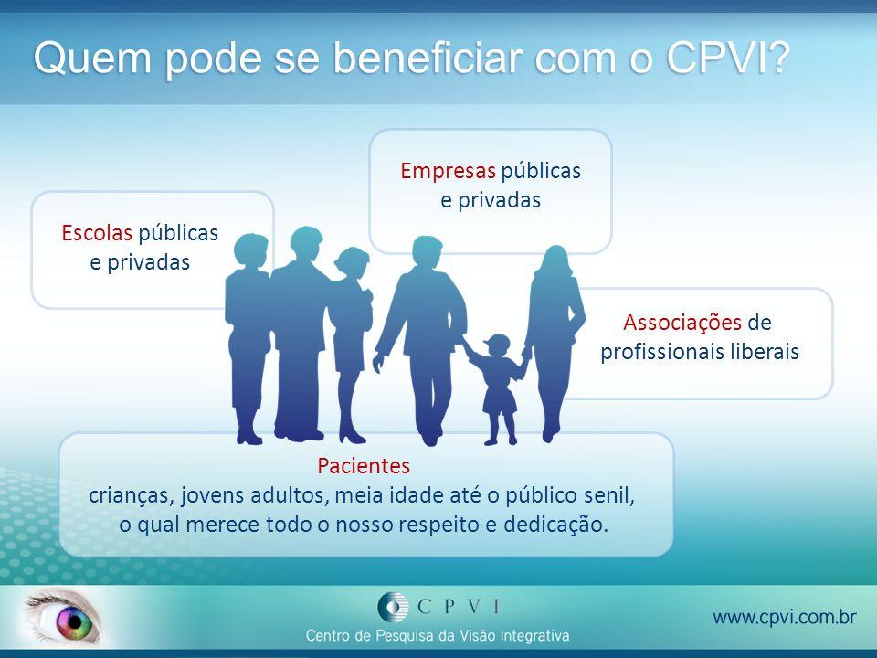 Quem pode se beneficiar com o CPVI? Escolas públicas e privadas Empresas públicas e privadas Associações de profissionais liberais Pacientes crianças,