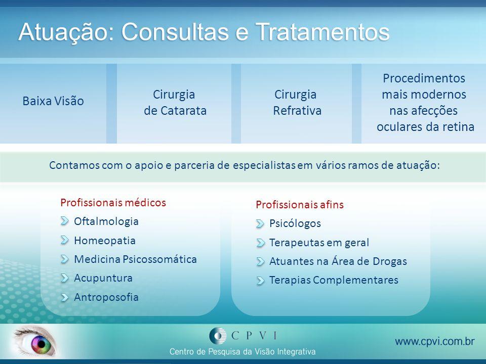 Atuação: Consultas e Tratamentos Contamos com o apoio e parceria de especialistas em vários ramos de atuação: Baixa Visão Cirurgia Refrativa Cirurgia