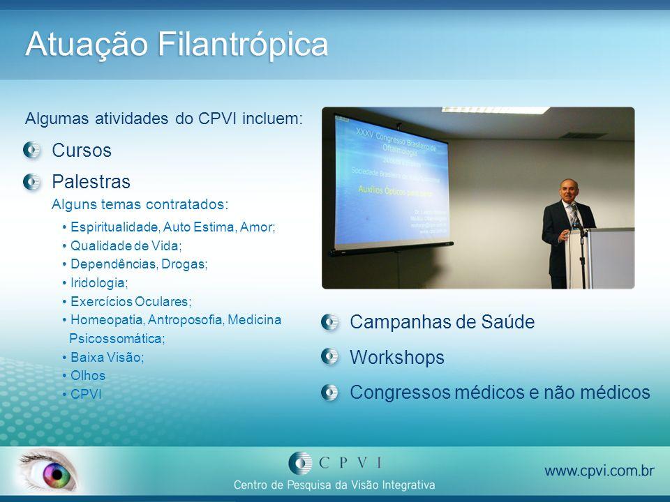 Atuação Filantrópica Algumas atividades do CPVI incluem: Palestras Alguns temas contratados: Espiritualidade, Auto Estima, Amor; Qualidade de Vida; De