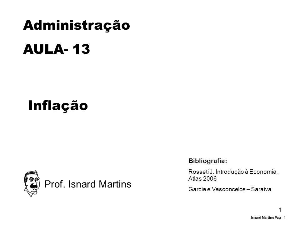 1 Administração AULA- 13 Inflação Prof. Isnard Martins Bibliografia: Rosseti J. Introdução à Economia. Atlas 2006 Garcia e Vasconcelos – Saraiva Isnar
