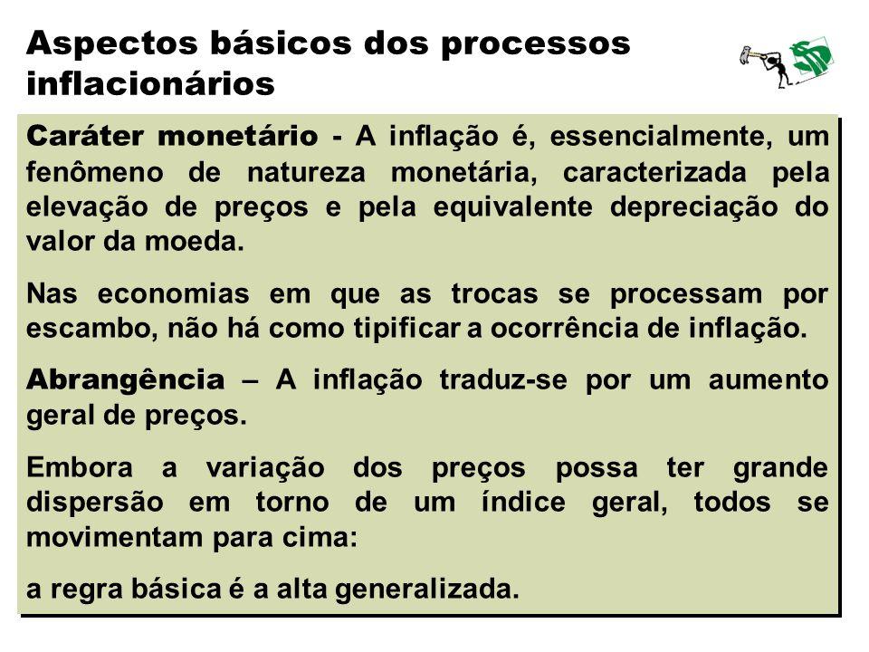 15 Caráter monetário - A inflação é, essencialmente, um fenômeno de natureza monetária, caracterizada pela elevação de preços e pela equivalente depre