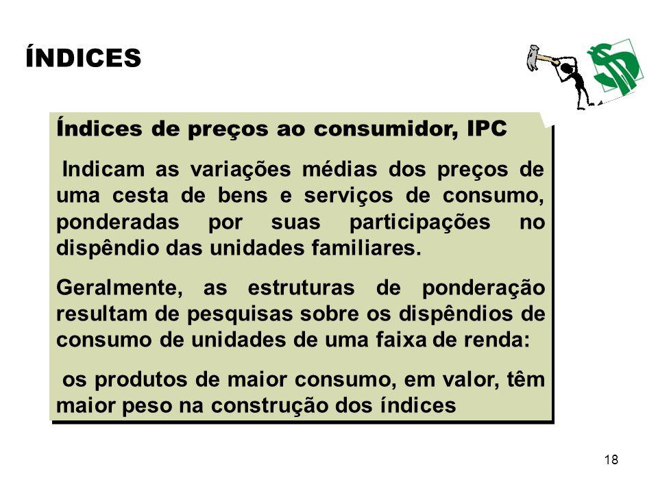 18 Índices de preços ao consumidor, IPC Indicam as variações médias dos preços de uma cesta de bens e serviços de consumo, ponderadas por suas partici