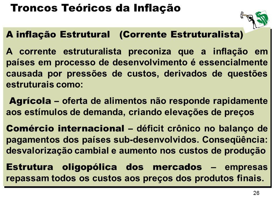26 A inflação Estrutural (Corrente Estruturalista) A corrente estruturalista preconiza que a inflação em países em processo de desenvolvimento é essen