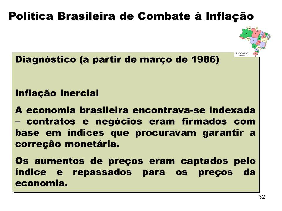 32 Diagnóstico (a partir de março de 1986) Inflação Inercial A economia brasileira encontrava-se indexada – contratos e negócios eram firmados com bas
