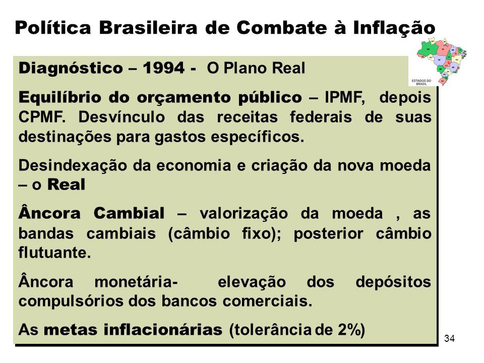 34 Diagnóstico – 1994 - O Plano Real Equilíbrio do orçamento público – IPMF, depois CPMF. Desvínculo das receitas federais de suas destinações para ga