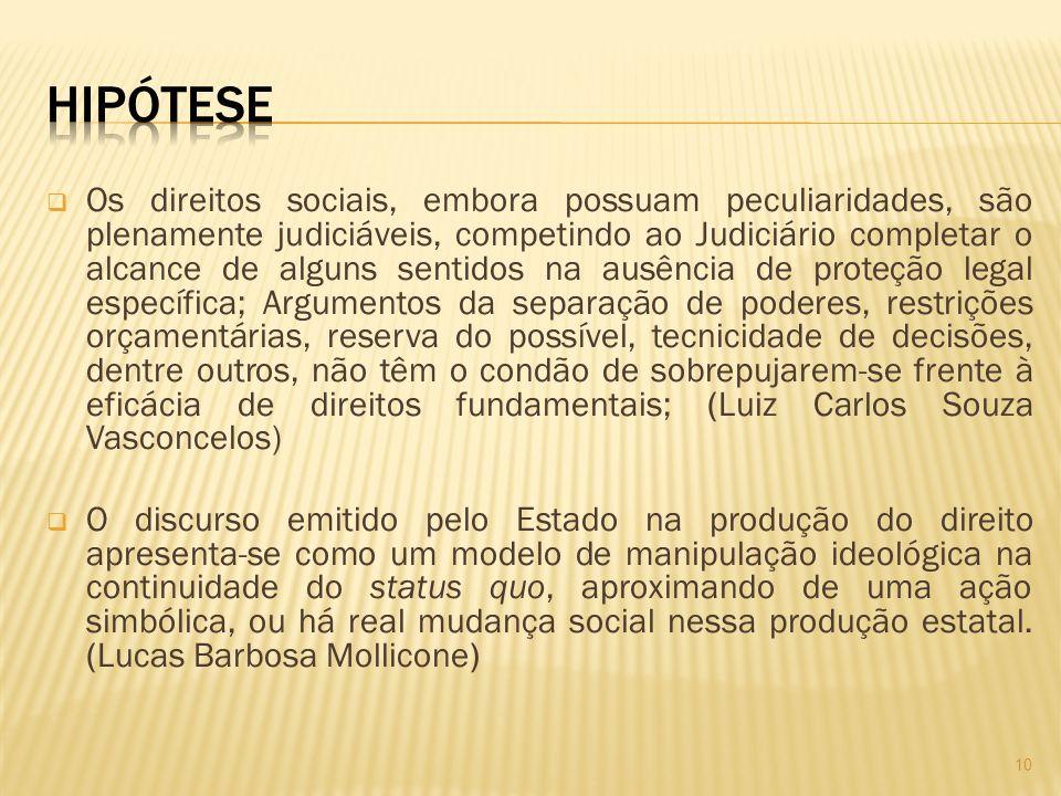 Os direitos sociais, embora possuam peculiaridades, são plenamente judiciáveis, competindo ao Judiciário completar o alcance de alguns sentidos na ausência de proteção legal específica; Argumentos da separação de poderes, restrições orçamentárias, reserva do possível, tecnicidade de decisões, dentre outros, não têm o condão de sobrepujarem-se frente à eficácia de direitos fundamentais; (Luiz Carlos Souza Vasconcelos) O discurso emitido pelo Estado na produção do direito apresenta-se como um modelo de manipulação ideológica na continuidade do status quo, aproximando de uma ação simbólica, ou há real mudança social nessa produção estatal.