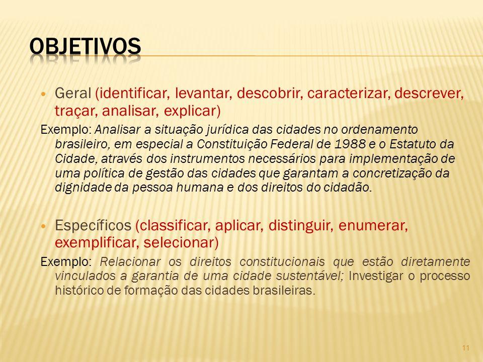 Geral (identificar, levantar, descobrir, caracterizar, descrever, traçar, analisar, explicar) Exemplo: Analisar a situação jurídica das cidades no ord