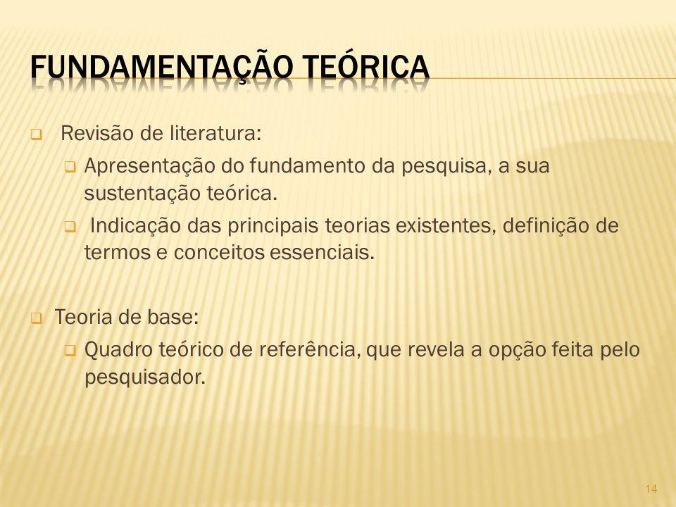 Revisão de literatura: Apresentação do fundamento da pesquisa, a sua sustentação teórica.