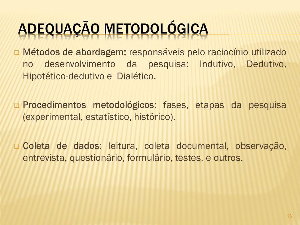 Métodos de abordagem: responsáveis pelo raciocínio utilizado no desenvolvimento da pesquisa: Indutivo, Dedutivo, Hipotético-dedutivo e Dialético.