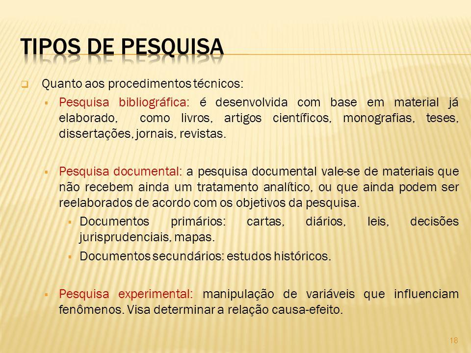 Quanto aos procedimentos técnicos: Pesquisa bibliográfica: é desenvolvida com base em material já elaborado, como livros, artigos científicos, monografias, teses, dissertações, jornais, revistas.