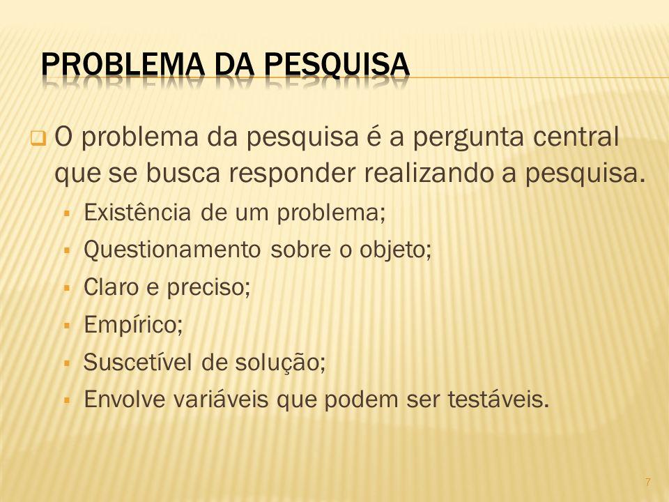 O problema da pesquisa é a pergunta central que se busca responder realizando a pesquisa. Existência de um problema; Questionamento sobre o objeto; Cl