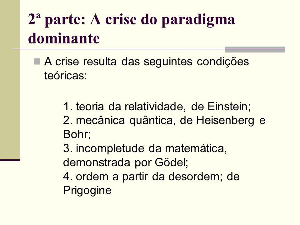 2ª parte: A crise do paradigma dominante A crise resulta das seguintes condições teóricas: 1. teoria da relatividade, de Einstein; 2. mecânica quântic