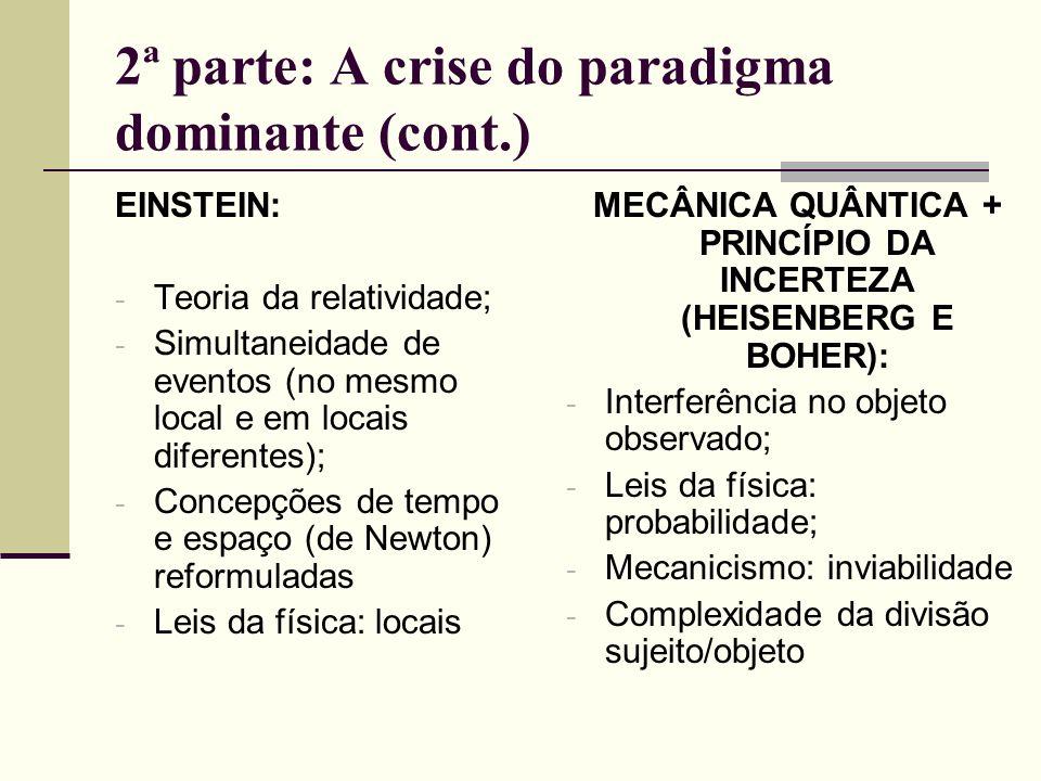 2ª parte: A crise do paradigma dominante (cont.) EINSTEIN: - Teoria da relatividade; - Simultaneidade de eventos (no mesmo local e em locais diferente