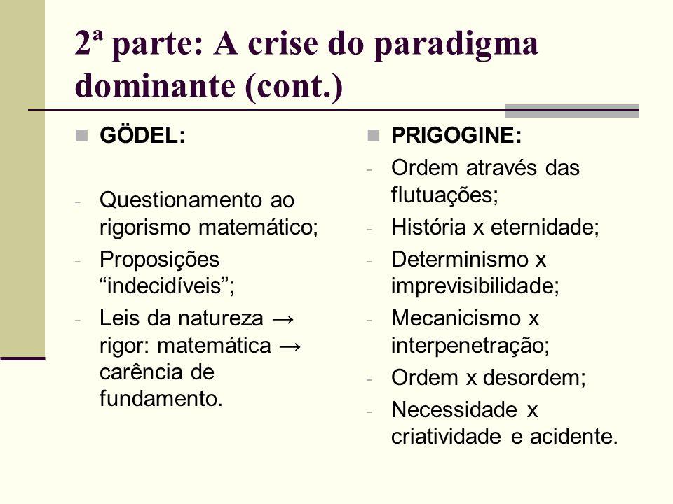 2ª parte: A crise do paradigma dominante (cont.) GÖDEL: - Questionamento ao rigorismo matemático; - Proposições indecidíveis; - Leis da natureza rigor