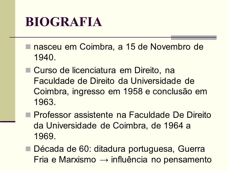BIOGRAFIA nasceu em Coimbra, a 15 de Novembro de 1940. Curso de licenciatura em Direito, na Faculdade de Direito da Universidade de Coimbra, ingresso