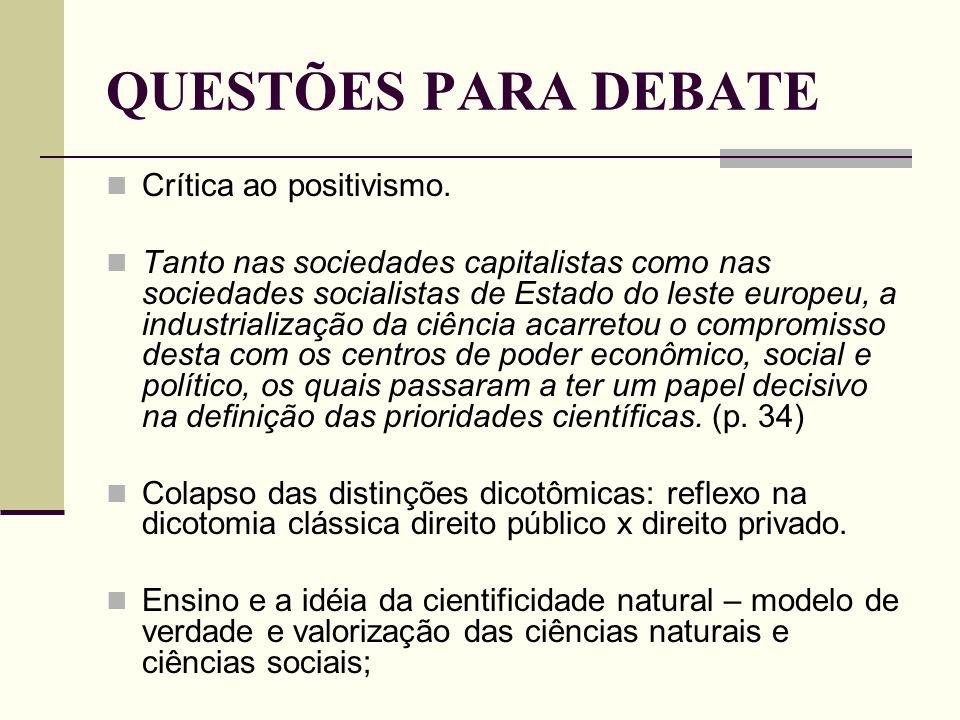 QUESTÕES PARA DEBATE Crítica ao positivismo. Tanto nas sociedades capitalistas como nas sociedades socialistas de Estado do leste europeu, a industria