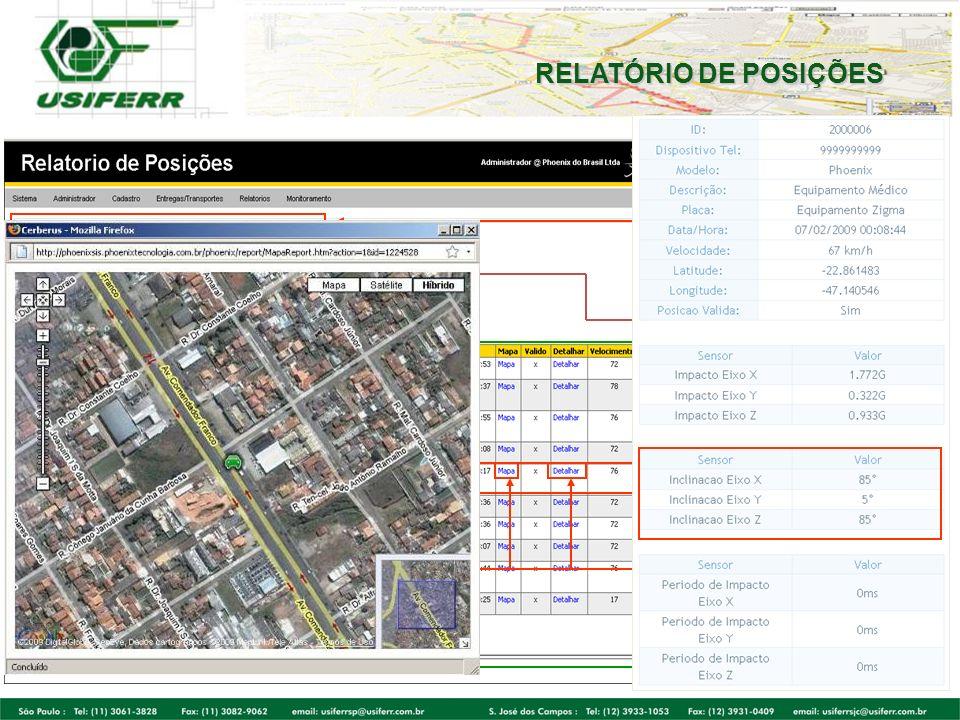 RELATÓRIO DE POSIÇÕES Visualize data/hora específica,velocidade, hodômetro, outros. Exporte Relatórios diretamente em XLS ou PDF. Verifique nesta tela