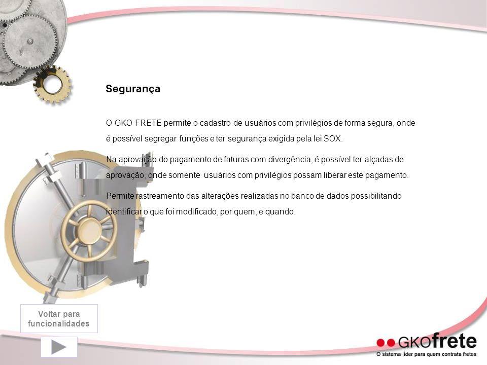 Segurança O GKO FRETE permite o cadastro de usuários com privilégios de forma segura, onde é possível segregar funções e ter segurança exigida pela lei SOX.