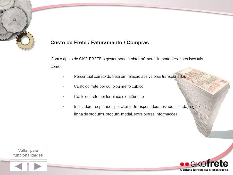 Custo de Frete / Faturamento / Compras Com o apoio do GKO FRETE o gestor poderá obter números importantes e precisos tais como: Percentual correto do