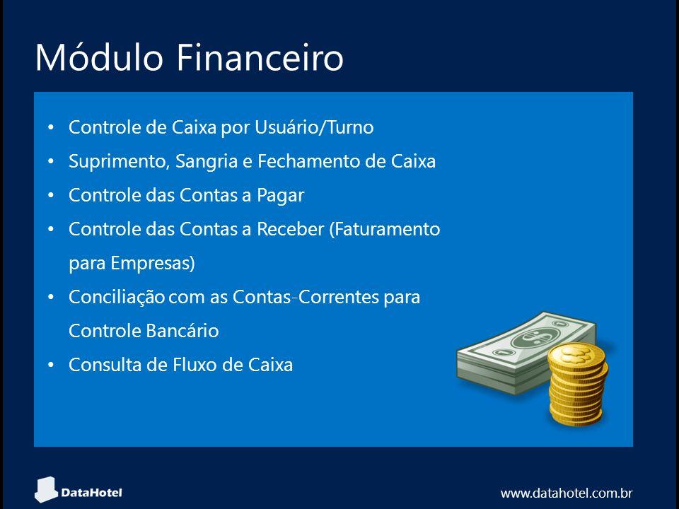 Módulo Financeiro www.datahotel.com.br Controle de Caixa por Usuário/Turno Suprimento, Sangria e Fechamento de Caixa Controle das Contas a Pagar Contr