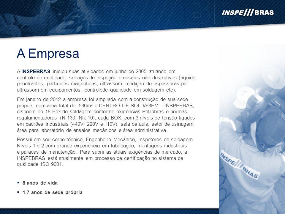 A INSPEBRAS iniciou suas atividades em junho de 2005 atuando em controle de qualidade, serviços de inspeção e ensaios não destrutivos (líquido penetrantes, partículas magnéticas, ultrassom, medição de espessuras por ultrassom em equipamentos, controlede qualidade em soldagem etc).