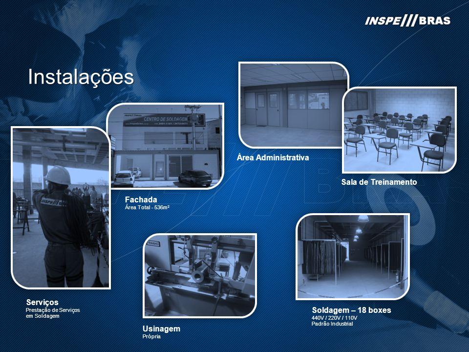 Instalações Sala de Treinamento Área Administrativa Fachada Área Total - 536m 2 Soldagem – 18 boxes 440V / 220V / 110V Padrão Industrial Usinagem Próp