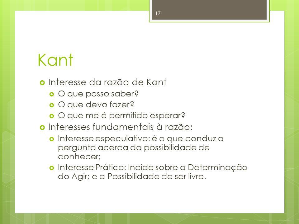 Kant Interesse da razão de Kant O que posso saber? O que devo fazer? O que me é permitido esperar? Interesses fundamentais à razão: Interesse especula