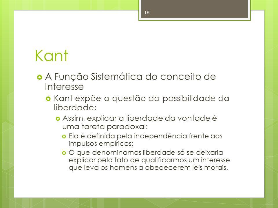 Kant A Função Sistemática do conceito de Interesse Kant expõe a questão da possibilidade da liberdade: Assim, explicar a liberdade da vontade é uma ta