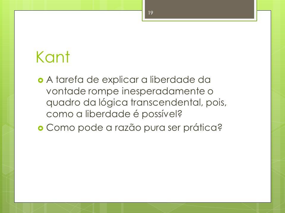 Kant A tarefa de explicar a liberdade da vontade rompe inesperadamente o quadro da lógica transcendental, pois, como a liberdade é possível? Como pode