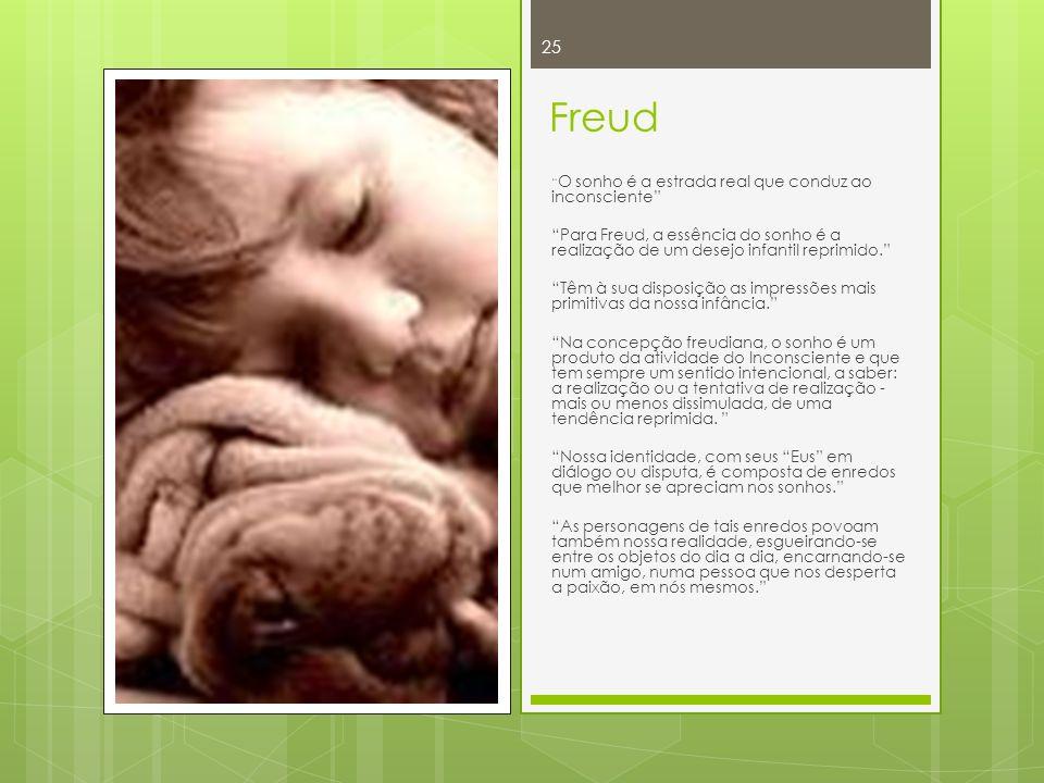 Freud O sonho é a estrada real que conduz ao inconsciente Para Freud, a essência do sonho é a realização de um desejo infantil reprimido. Têm à sua di
