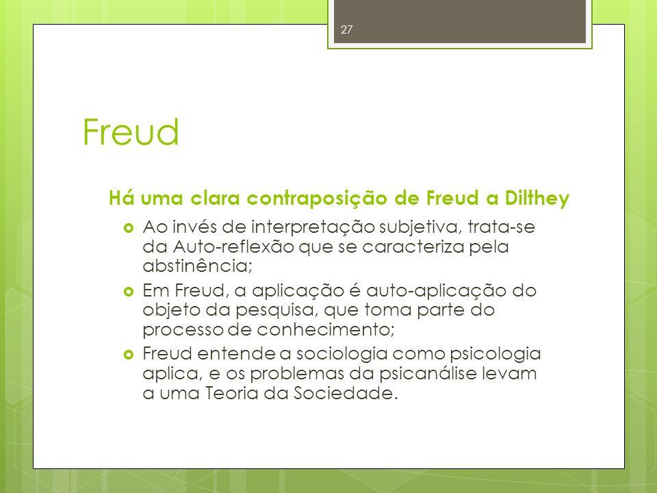 Freud Há uma clara contraposição de Freud a Dilthey Ao invés de interpretação subjetiva, trata-se da Auto-reflexão que se caracteriza pela abstinência