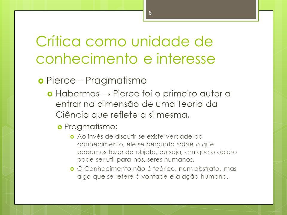 Crítica como unidade de conhecimento e interesse Pierce – Pragmatismo Habermas Pierce foi o primeiro autor a entrar na dimensão de uma Teoria da Ciênc