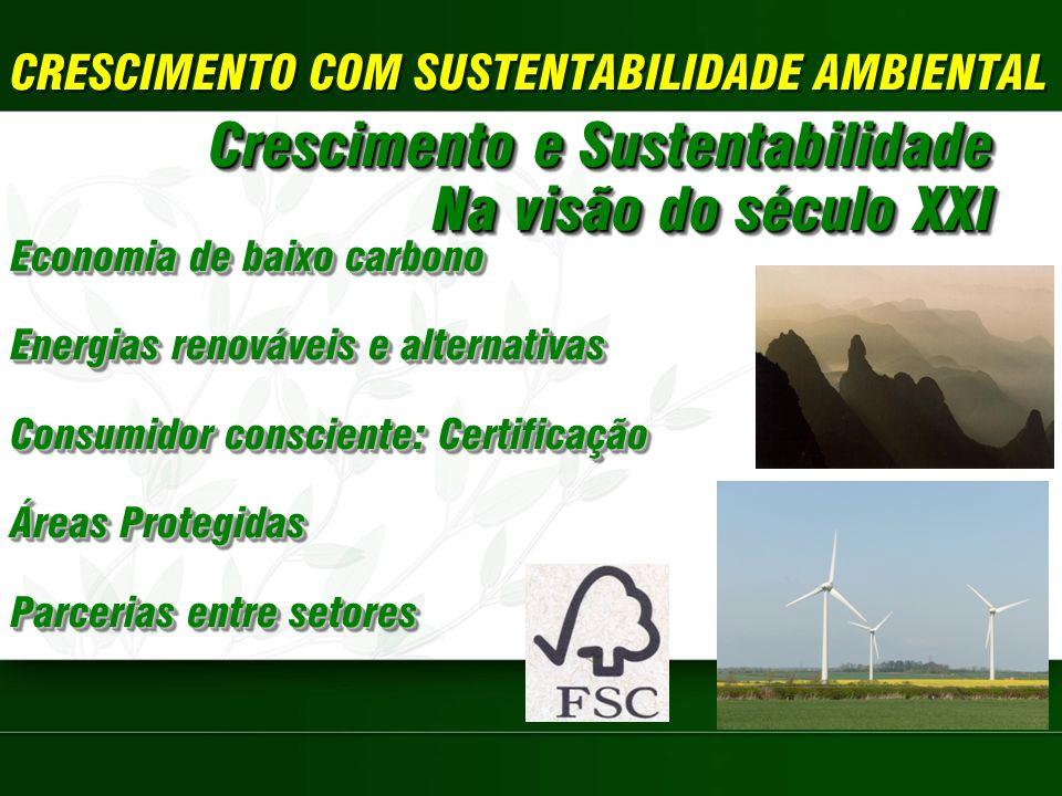 CRESCIMENTO COM SUSTENTABILIDADE AMBIENTAL Crescimento e Sustentabilidade Na visão do século XXI Crescimento e Sustentabilidade Na visão do século XXI Economia de baixo carbono Energias renováveis e alternativas Consumidor consciente: Certificação Áreas Protegidas Parcerias entre setores Economia de baixo carbono Energias renováveis e alternativas Consumidor consciente: Certificação Áreas Protegidas Parcerias entre setores