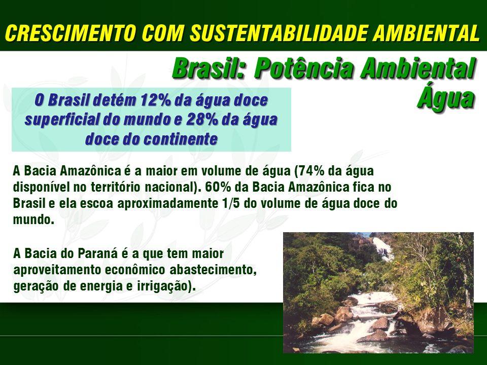 CRESCIMENTO COM SUSTENTABILIDADE AMBIENTAL Brasil: Potência Ambiental Água Água A Bacia Amazônica é a maior em volume de água (74% da água disponível no território nacional).